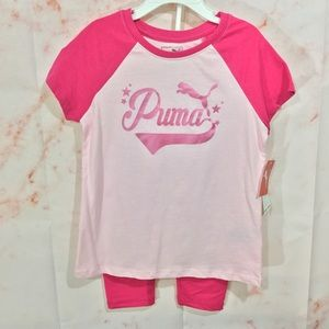 NWT Girls PUMA 2 Piece Leggings/T-shirt Set Sz 6